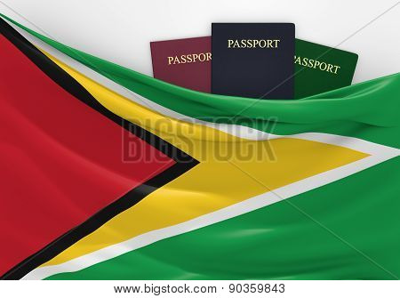 Travel and tourism in Guyana, with assorted passports