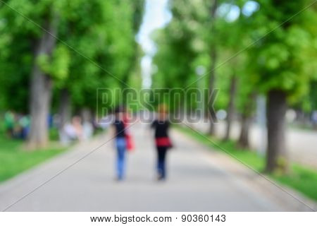 People Walking In The Park Blurred Background