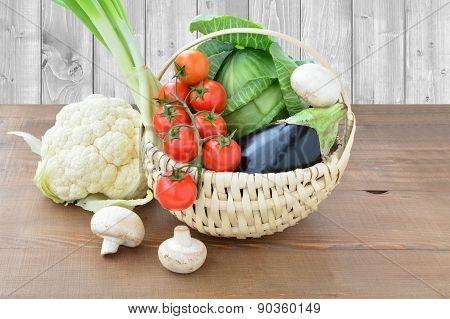Summer Vegetables In A Basket