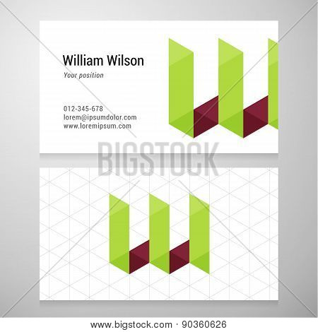 Modern Letter W Origami Business Card Template