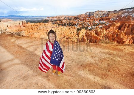 Boy and USA flag, Bryce Canyon National Park
