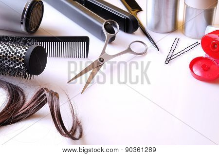 Set Hairdressing Articles On A White Table