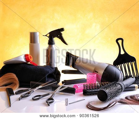 Set Hairdressing Articles On Glass Table Horizontal Composition