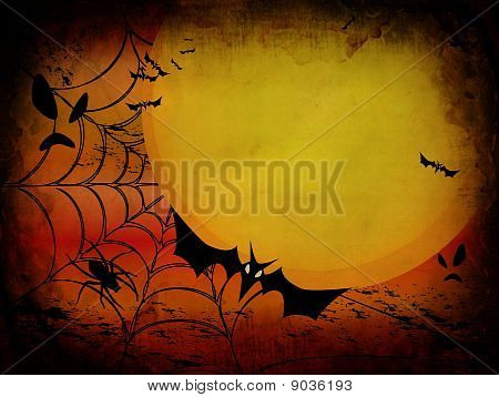 Grunge Halloween Card Or Background In Orange And Red Design