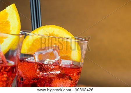 Spritz Aperitif Aperol Cocktail With Orange Slices And Ice Cubes With Space For Text