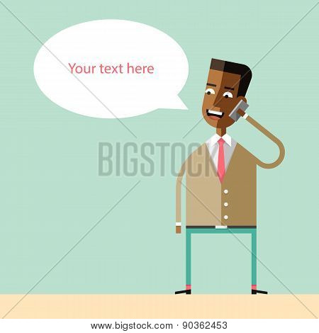 African american businessman talking on the phone.