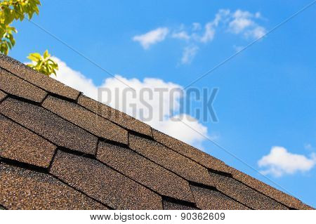 The roof of the house in the background of the sky