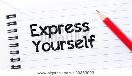 Express Yourself Text Written On Notebook Page