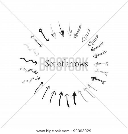 Set of different hand drawn arrows
