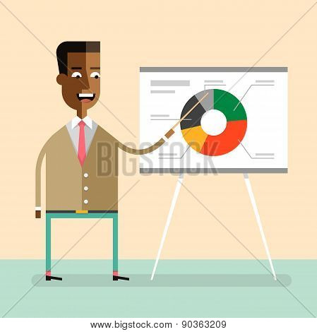 African american manager gives a presentation.