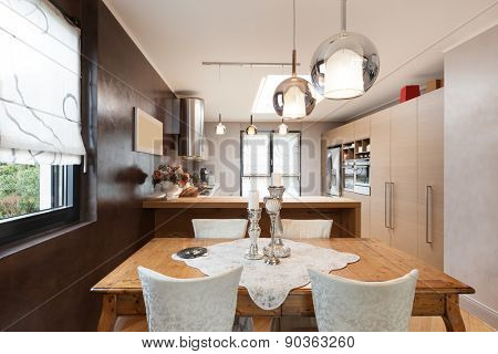 Architecture, beautiful apartment furnished, dining room