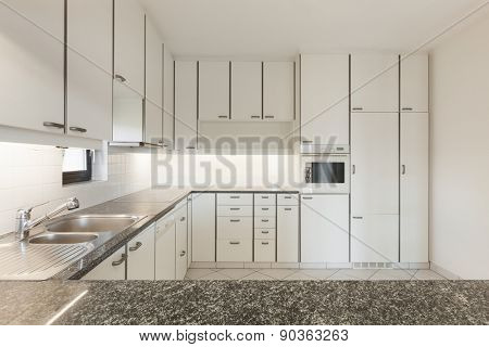 Architecture, Interiors of empty apartment, domestic kitchen