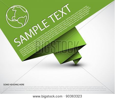 Vector simple background with folded green paper and some sample text