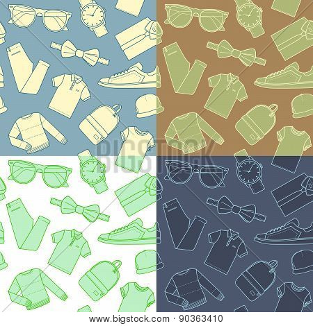 Collection of menswear backgrounds. Vector.