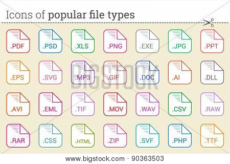 Icons of popular file types and files extensions.