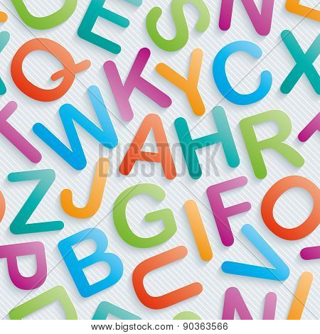 Colorful alphabet wallpaper. Seamless background with 3D effect. Vector EPS10.