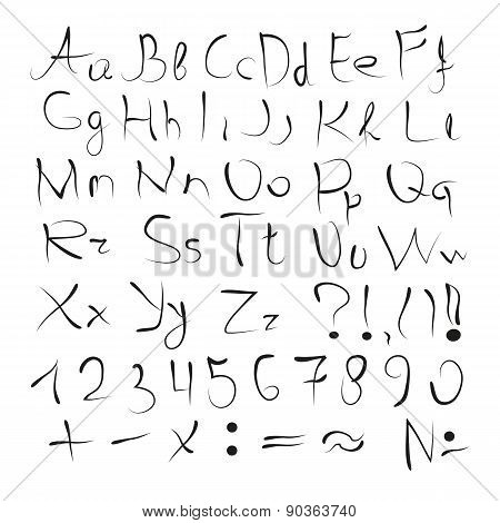 The English alphabet. Printed, uppercase letters, numbers, and punctuation marks. Hand drawing