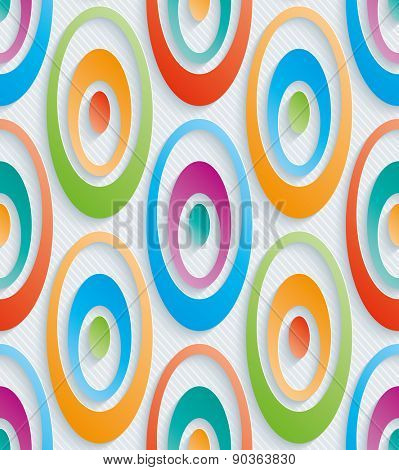 Colorful concentric circles. 3d seamless background. Vector EPS10.