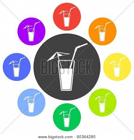 Alcohol Drink Icon. Cold Summer Cocktail. Vector Illustration.