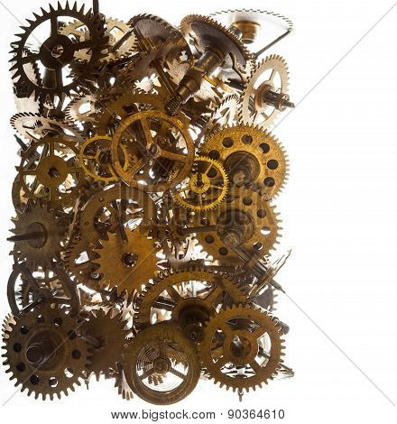 Old Watch Gears Background Isolated On The White