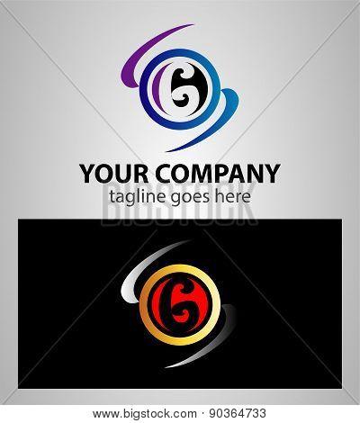 Number six 6 logo icon