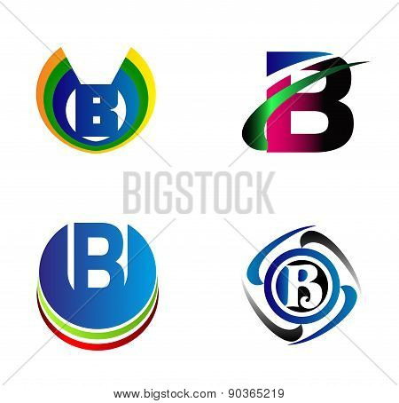 Letter B alphabet logo vector letter B icon set