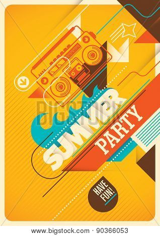 Summer party poster design. Vector illustration.