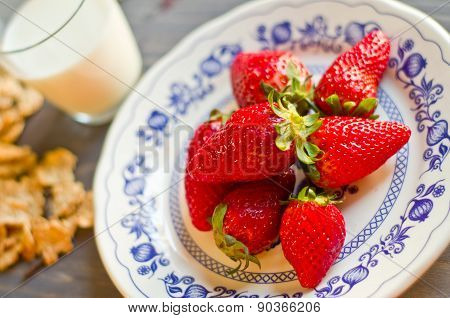 Biscuits, Cornflakes, Strawberry And Milk