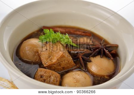 Hard Boiled Eggs Stew With Sweet Brown Gravy In Bowl