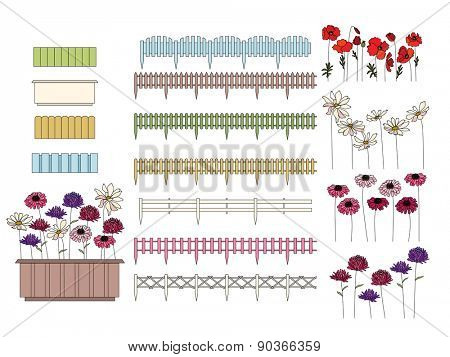 Flowers in containers growing at window sills and balcony. Fence is seamless pattern brush