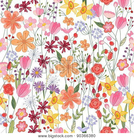 Seamless pattern with bright contour summer flowers