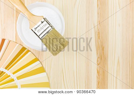 Paint Brush With Color Samples And Can