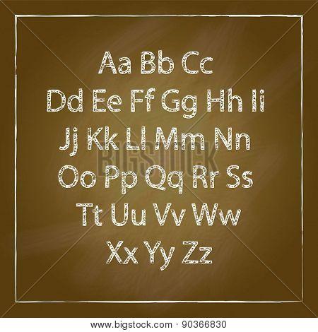 Brown Wood School Desks Set And Hand-drawn Chalk Alphabet