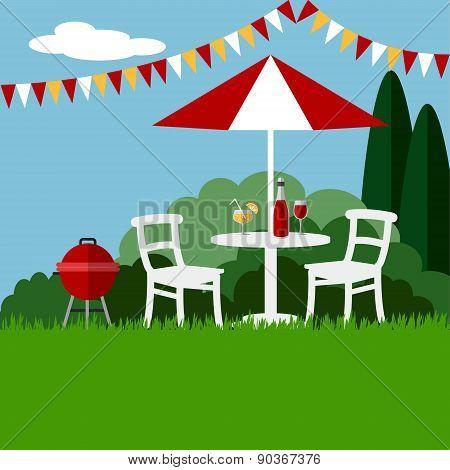Summer Garden Party Barbecue Background, Flat Design, Vector