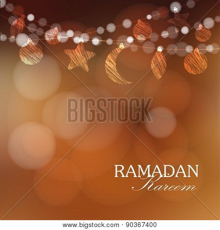 Garlands With moon, Stars, Lights, Ramadan Vector Illustration