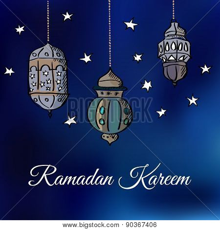 Arabic Lanterns With Stars, Vector Illustration Background