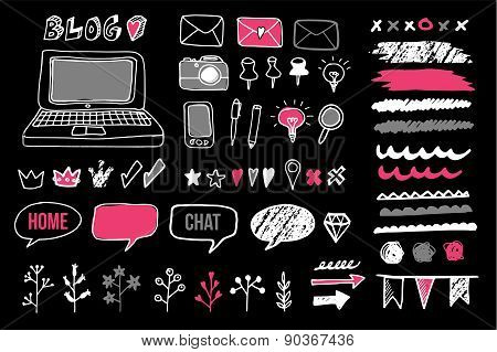 Set Of Chalk Doodle Graphic Elements For Blog, Vector Objects