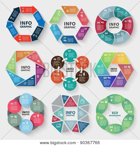 Vector set of circle abstract infographics
