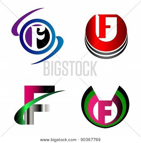 Letter F alphabet logo vector letter F icon set