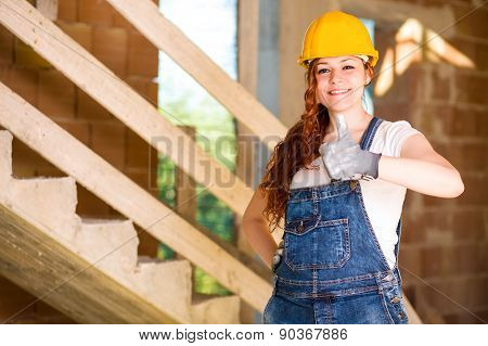 Woman Bricklayer Thumbs Up