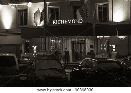 The Main Entrance Of The Hotel Richmond In Geneva, Switzerland