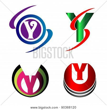 Letter Y logo Icons Set Vector Graphic Design