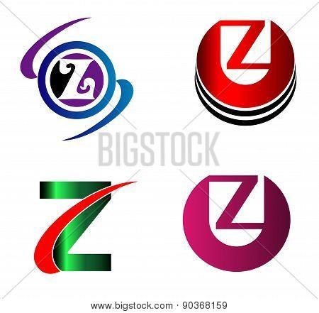 Letter Z logo Icons Set Vector Graphic Design