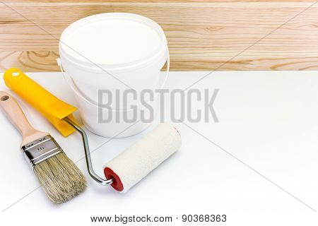 Paint Roller And Brushes With Cans