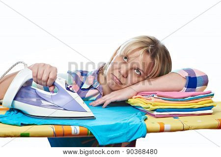 Tired Woman Housewife Ironed Clothes