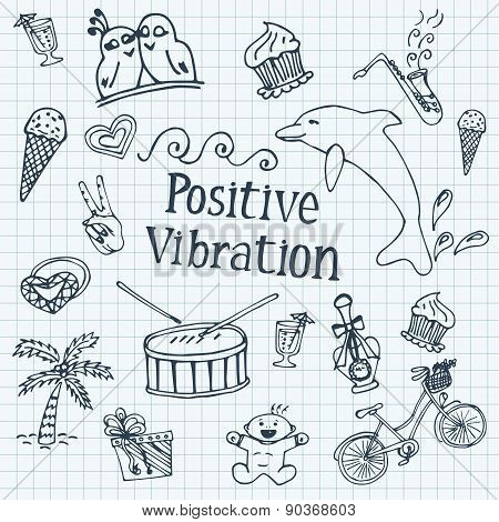 Doodle Set Against The Background Of Notebook Sheet In A Cage. Positive Themes. Joy Of Life. Hand-dr