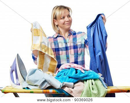 Beautiful Happy Woman Housewife Holding Laundry For Ironing