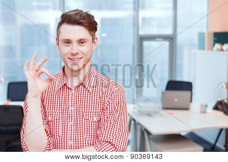 Portrait of office worker pointing ok