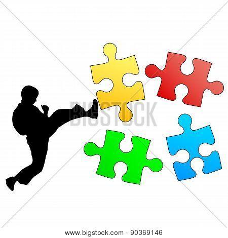 Jigsaw Puzzle Silhouette Of Karate Breaks Leg. Vector Illustrati