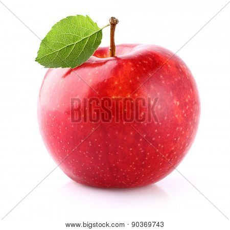 Juicy apple with leaf